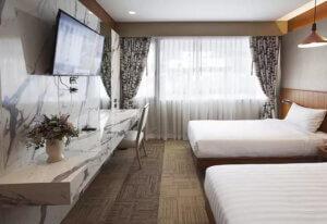 พรมปูพื้นติดตั้งในโรงแรม